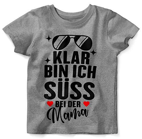 Mikalino Baby/Kinder T-Shirt mit Spruch für Jungen Mädchen Unisex Kurzarm Klar Bin ich süß - bei der Mama | handbedruckt in Deutschland | Handmade with Love, Grösse:104, Farbe:Heather