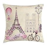 Cojín Decorativo París Ciudad romántica Flor Monumentos Torre Eiffel Bicicleta Mantequilla Globo aerostático Pareja Algodón Decoración del hogar Cojín Cuadrado Funda de Almohada
