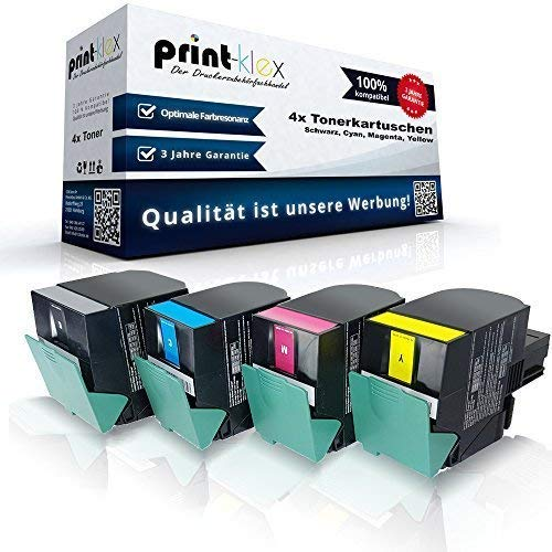 4x Kompatible Tonerkartuschen für Lexmark CX317 CX317dn CX417de CX517de 71B20K0 71B20C0 71B20M0 71B20Y0 Schwarz Blau Rot Yellow - Office Line Serie