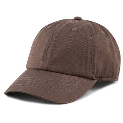 The Hat Depot Kids Washed Low Profile Cotton and Denim Plain Baseball Cap Hat (6-9yrs, Brown)