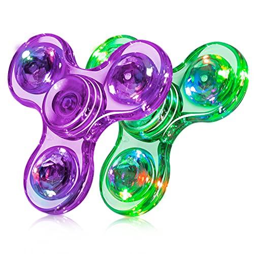 FIGROL Fidget Spinner, 2 Pack LED Light Up Fidget Toys Crystal Finger Toy Hand Fidget Spinners-Kids...