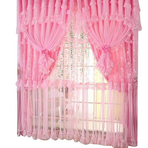 """Comforbed Jacquard Princess 4-Layer Ruffle Lace Embroidered Tulle Window Curtains Valances Panel Sheer for Living Room Bedroom Wedding Home Decor 118"""" x 110"""" (Style1, Pink)"""