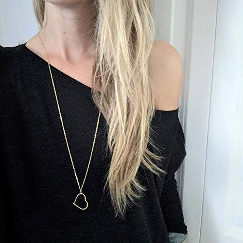 weichuang Pulloverkette Damen Gold Herz Halskette Pullover Kette Neue Einfache Lange Anhänger Halskette Kragen Weibliche Rollkragenpullover Kette (Metallfarbe: Silber)
