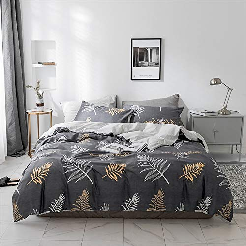 Cozydecor 3 Pieces Duvet Cover Set 100% Natural Cotton King Size White and Yellow Botanical Leaf Print Bedding Sets with Zipper Ties 1 Duvet Cover 2 Pillow Shams Hotel Quality Soft Stain Resistant