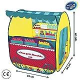 LUDI - Tente pour jouer à la marchande. Structure pop-up en tissu 106 x 94 x 94 cm. Dès 3 ans. Se plie et se range dans un sac. Tissu résistant - 60002