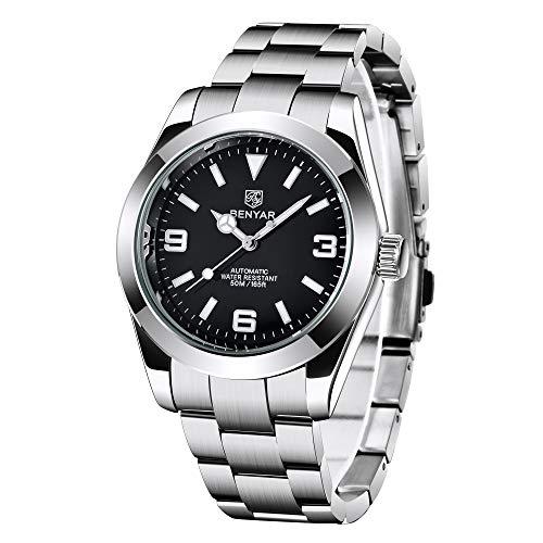 BENYAR Armbanduhr für Männer, Edelstahl Armbanduhren, 50M wasserdicht und Kratzfest, Analog mechanische Business Uhren, Beste Herren Geschenk.