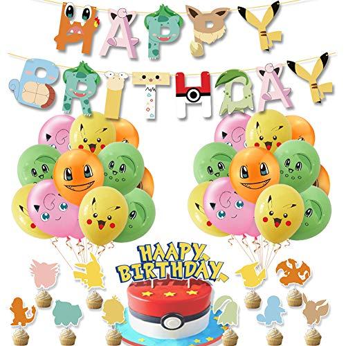 BAIBEI 34Pcs Décoration Pokemon Anniversaire, Ballons, Bannières, Décorations de Gâteaux, Pokemon Thème Dessin Animé Fête Pokemon Kit, Ballon Pokemon