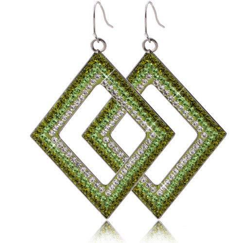 ZRDMN oorstekers dangler oorbel sieraden voor vrouwen mode RVS diamant vier zijpanelen boor oor vallen in het vrouwelijke oor Hanger 6-kleuren groene Sieraden Oorbellen