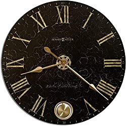 Howard Miller London Night Wall Clock 620-474 – Oversized Black-Crackle Finish with Quartz Movement