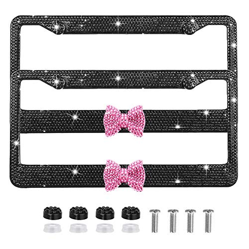 Bling Bling License Plate Frames 2 Pack Pink Bow - Handmade Waterproof Glitter Rhinestones Crystal Plate Frames for Cars with 2 Holes Screws Caps Set