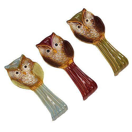 QYLJZB Soporte de cuchara de cerámica, soporte de vajilla hecho a mano, soporte de porcelana con diseño de búho, soporte de cuchara para mesa de comedor, cocina y hogar