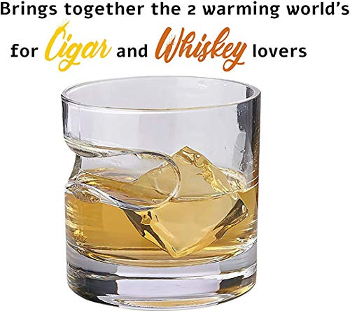 Bezrat Zigarrenglas rund – altmodisches Whisky-Glas mit integrierter Zigarrenablage