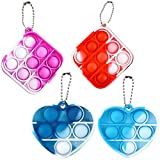AZAZJ 4 Pcs Mini Push Pop Bubble Fidget Toys with Keychain Silicone Sensory Toys Stress Relieves Anxious Tools for Kids Adult Heart Square