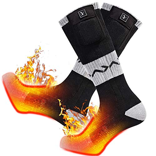 day wolf Electric Socks, Heated Socks 7.4V 2200MAH Battery Rechargeable Foot Warmer Winter Skiing, Motorcycle,Cycling,Hiking, Working, Hunting, Camping, Warm Cotton Socks for Men & Women