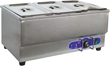 INTBUYING Food Warmer 110V 3-Pan Commercial Grade Stainless Steel Bain Marie Buffet Food Warmer Steam Table for Catering Restaurant