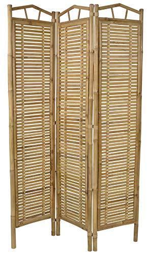 habeig Paravent Raumteiler 180x120 cm aus Bambusholz spanische Wand Trennwand Holzmöbel Sichtschutz