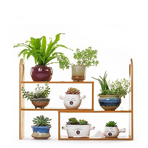 LLLXUHA Bois massif Mini Multi-couche Support de fleurs, intérieur salon Cadre de bonsaï, balcon Plantes charnues Présentoir , Primary Color , 45*16*41cm