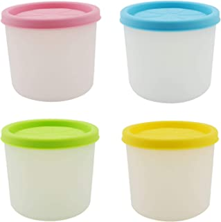 Annkey Mini Ice Cream Freezer Containers Ice Cream Tubs with Lids for Baby Food Storage, Meal Prep, Soup, Frozen Dessert Holder (6oz, 4 Pack)