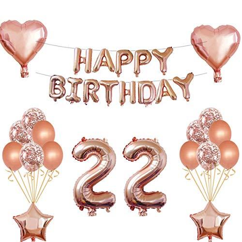 Oumezon 22 Geburtstag Mädchen Dekoration Rose Gold, 22. Geburtstag deko für Mädchen Jungen Happy Birthday Girlande Banner Folienballon Konfetti Luftballons Deko Geburtstag Party Anzahl Ballons