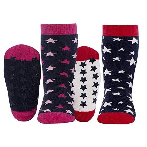 Ewers Baby- und Kindersocken Sterne 2er Pack, Stoppersocken, Antirutschsohle für Mädchen, Made in Europe, Anti-Rutsch, ABS, Doppelpack
