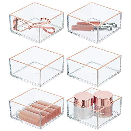 mDesign 6er-Set Schreibtisch Organizer – praktische Aufbewahrungsbox für Büroklammern, Notizzettel & Co. – Büro Organizer aus Kunststoff – transparent/roségoldfarben