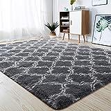 junovo Soft Area Rugs Fluffy Modern Geometric Rugs for Bedroom Living Room, Shaggy Floor Carpets Large Indoor Mat for Girls Kids Teen's Room Nursery Home Decor, 5ft x 8ft, Dark Grey