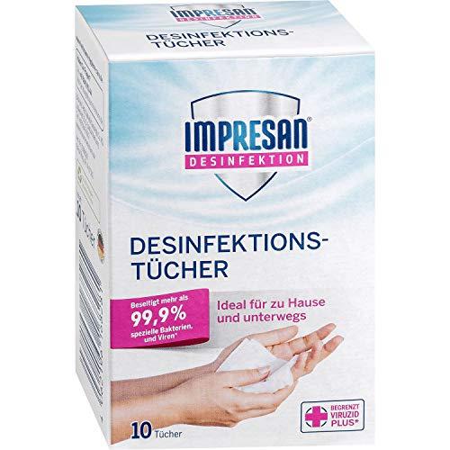Impresan Desinfektionstücher -für Hände, Gegenstände und Oberflächen geeignet - für zu Hause & unterwegs - gegen Bakterien und Viren - 1er Pack