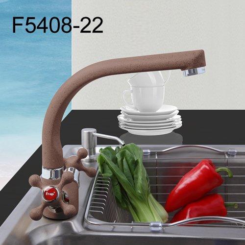 JYHW Frap Multicolor Spray Painting Küchenbecken Wasserhahn Einloch Modernes Design mit zwei Griffen Kalt- und Warmwasserhahn F5408-7/8/10/21 Russische Föderation F5408 22 Kaffee