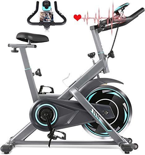 Profun Bicicleta Estática de Spinning Profesional, Ajustable Resistencia, Pantalla LCD, Bicicleta Fitness de Gimnasio Ejercicio con Volante de Inercia, Sillín Ajustable, Máx.130kg (Gris)