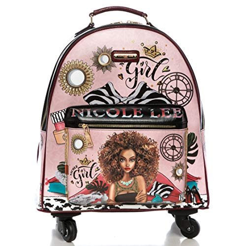 Nicole Lee Women's Rolling Red Backpack Luggage with 4 Spinner Wheels and Electronic Compartment, Super Roxana, One Size