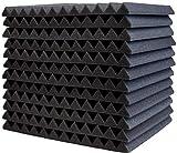 12 almohadillas de espuma acústica de 30 x 30 x 2,5 cm, cuñas de espuma de insonorización para cajas, estudio, herramientas de insonorización (negro)