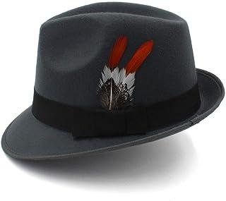 2019 Mens Womens Hats England Fedora Hat, Feather Black Gentleman Hat,Wedding Hat, Bride Groom Hat, Retro Jazz Hat for Men and Women (Color : Gray, Size : 56-58cm)