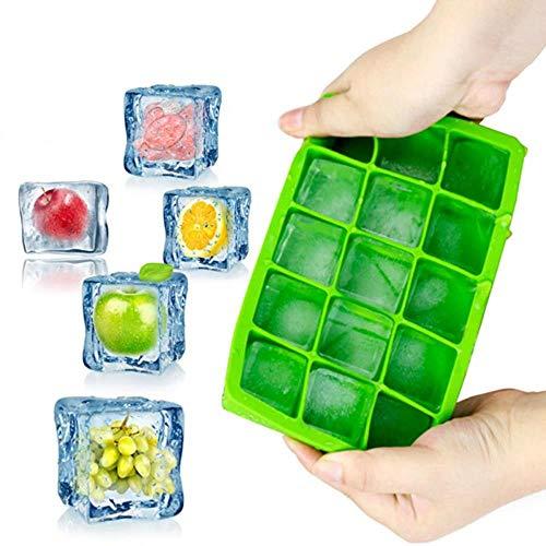 LCZMQRCLMZRQ Vierkante siliconen ijsblokje ijsblokjesvorm fruit ijsblokje ijsmachine keukenbar drinkaccessoires 5 kleuren beschikbaar, groen