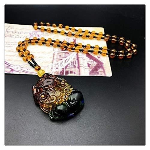 SHOYY Nuevo Vidrio cristalino de Color Lucky Ruyi Collar Guan Gong Buda Colgante Salvaje Colorido joyería de la Cadena suéter Piedras Joker (Metal Color : C pixiu)