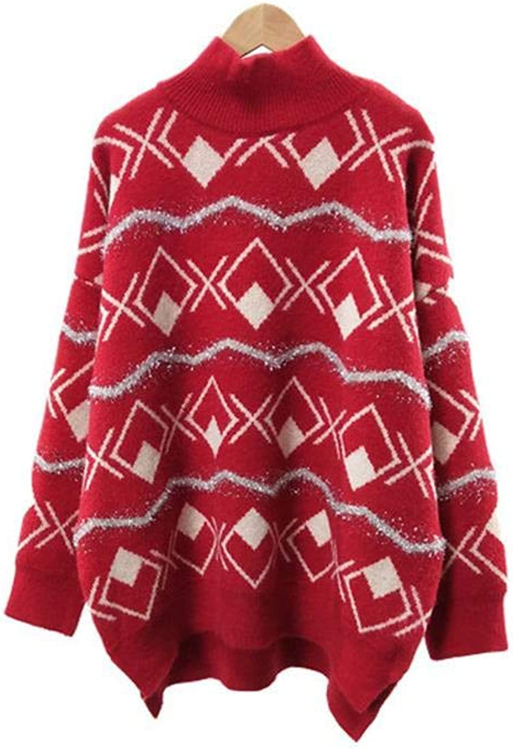Roohb Autumn Winter HighNeck Women's Knit Loose Christmas Sweater