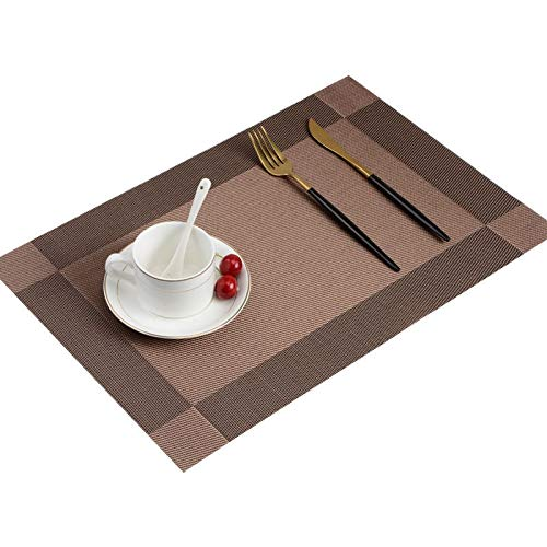 Tucson Lot de 6 sets de table antidérapants et isolants en PVC pour table de salle à manger, accessoires de cuisine