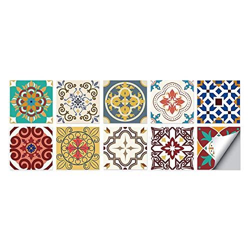 Patrón clásico Azulejos Adhesivos Cocina e Baño Pegatinas de Baldosas Vinilos decorativo de Muebles Vinilos pared Baño Cocina Azulejos,10 Piezas -15x15cm