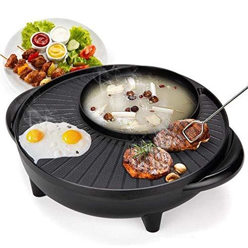 AoJuy Professionelle Elektrische 2 in 1 BBQ-Hottopf Koreanischer BBQ-Grill mit Elektrischer BBQ-Pfanne und Hotpot, Rauchloser Grill Innen, Schwarz