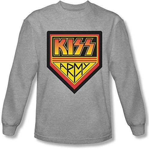 Kiss - Männer Armee-Logo Longsleeve T-Shirt, Medium, Athletic Heather