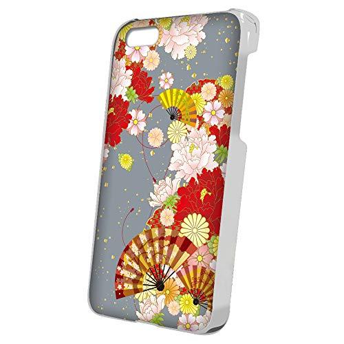 スマQ iPhone6Plus iPhone 6 Plus 和柄 花柄 扇子 スマホケース ハードケース Apple アップル アイフォン シックスプラス docomo au SoftBank SIMフリー ami_(E.グレー)