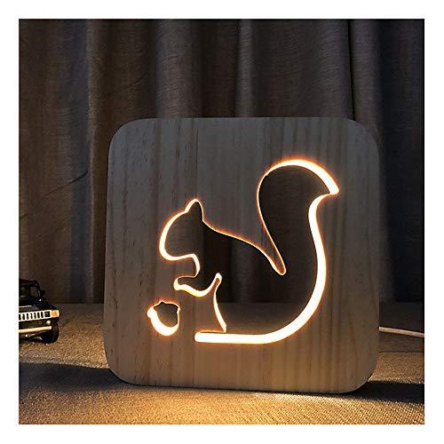 3d dekorative beleuchtung holztischlampe led eichhörnchen nachtlicht hohl bilderrahmen design nachttischlampe für jungen paare geburtstagsgeschenk schlafzimmer dekoration