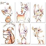 6er Set Poster Kinderzimmer,Yosemy DIN A4 Bilder Babyzimmer Dekoration für Mädchen Junge Deko Ohne Rahmen Tierbilder(Reh Eichhörnchen Fuchs Hase 21 * 30cm)