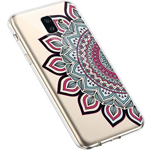 Uposao Kompatibel mit Samsung Galaxy J6 Plus 2018 Silikon Handyhülle Durchsichtig TPU Schutzhülle Transparent Blumen Muster Etui Ultra Dünn Weiche Crystal Clear Tasche Case,Henna Blumen Rot