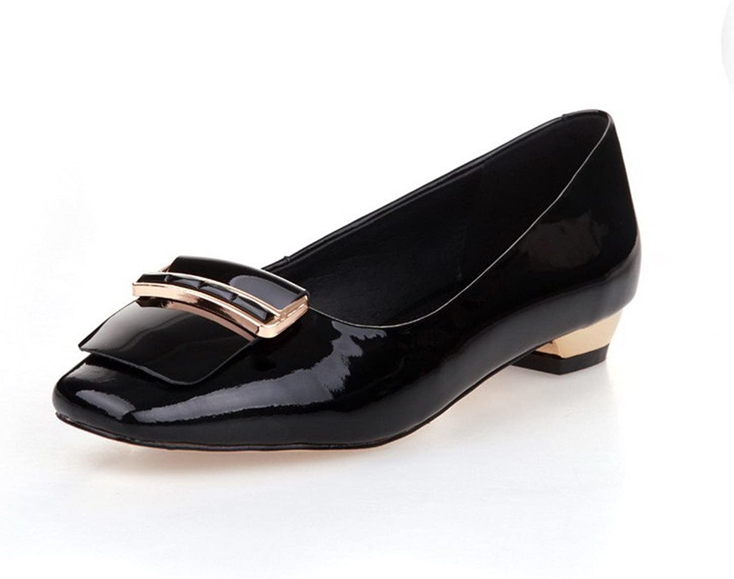 AllhqFashion Women's Closed Square Toe Low Heels Patent Leather Solid Pumps with Doug shoes