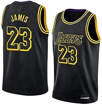 S&K Sports Camiseta Lebron James Los Angeles Lakers Negra, Camiseta Lebron James Los Angeles Lakers City Edición Swingman para Hombre