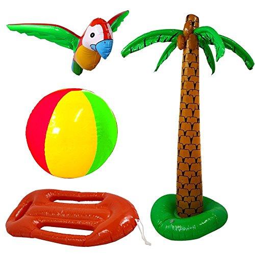Accessoires gonflables de plage avec un palmier + un perroquet + un ballon + une bouée rouge. Idéal pour les enterrements de vie de garçon ou de jeune fille dans une ambiance tropicale.