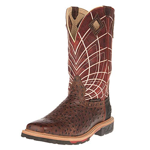 Justin Boots Company Mens Hybred Ostrich Print 12 Top Work Boot 12 D Rust