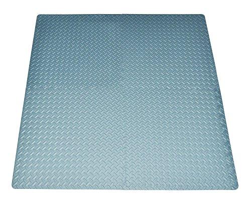 POCO DIVO 16-Square-ft Grey Exercise Mat Anti-Fatigue Interlocking Puzzle EVA Foam Floor Proctecting 4-Tile with 8-Border