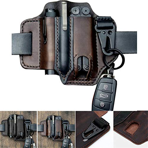 Genuine Leather Edc Belt Loop Waist Multitool Sheath, Edc Pocket Organiser Pouch, Leather Sheath Pocket Folding Knife Multi Tool Case Pouch Holster (Brown)