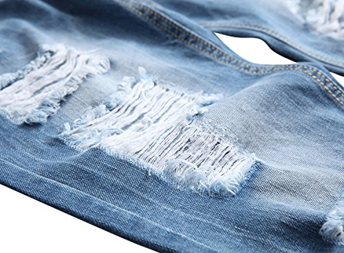 Men's Straight Fit Light Wash Distressed Jeans with Rips and Repair Blue 32